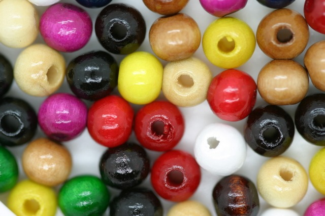 Wooden Beads, 6mm, 100 pieces, Mixed (2mm hole)