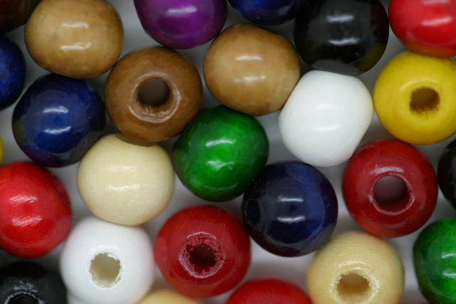 Wooden Beads, 8mm, 100 pieces, Mixed (3mm hole)
